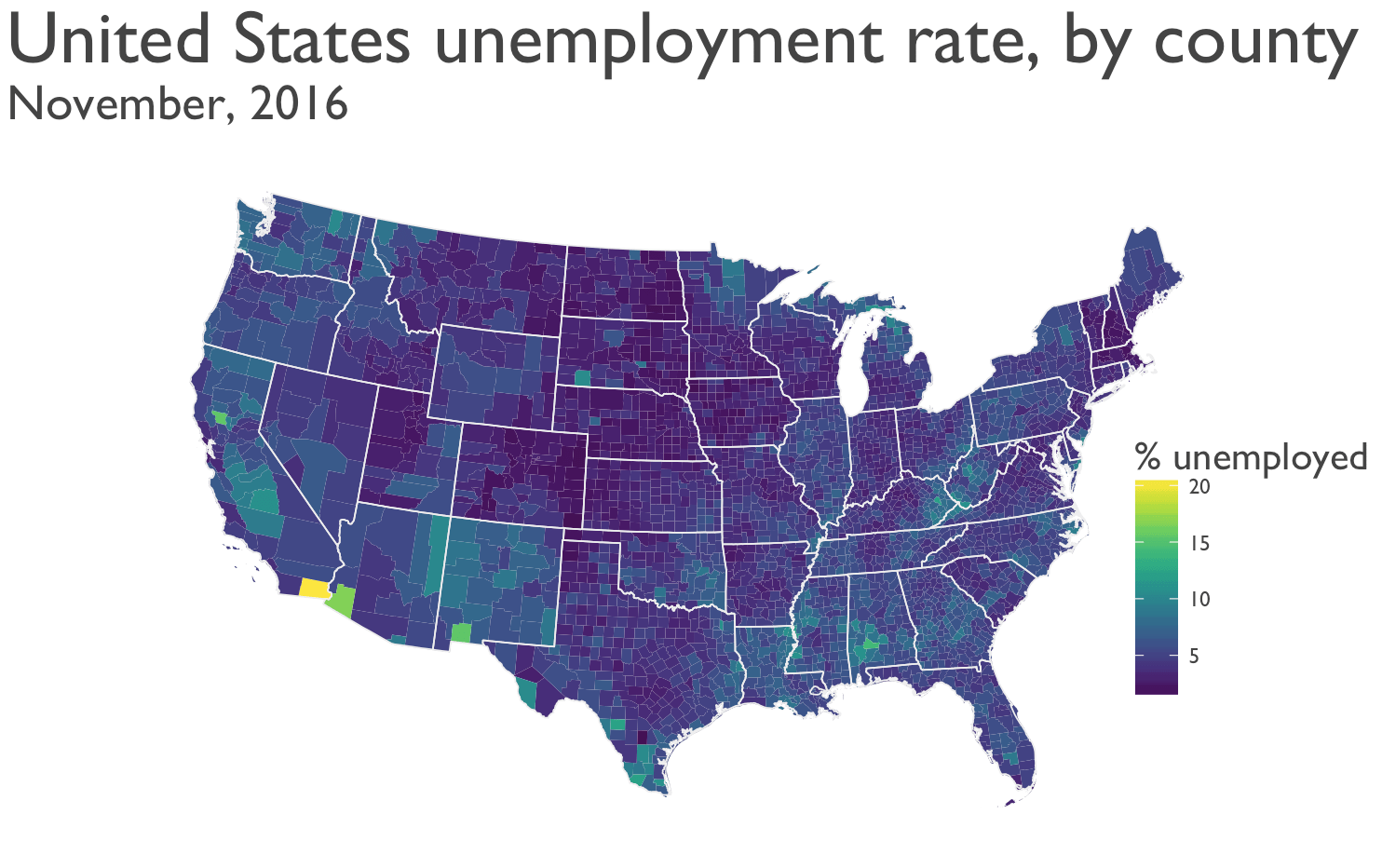 Mapping unemployment data, 2016 - Sharp Sight