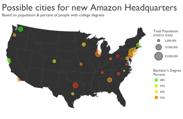 Map of possible Amazon HQ cities