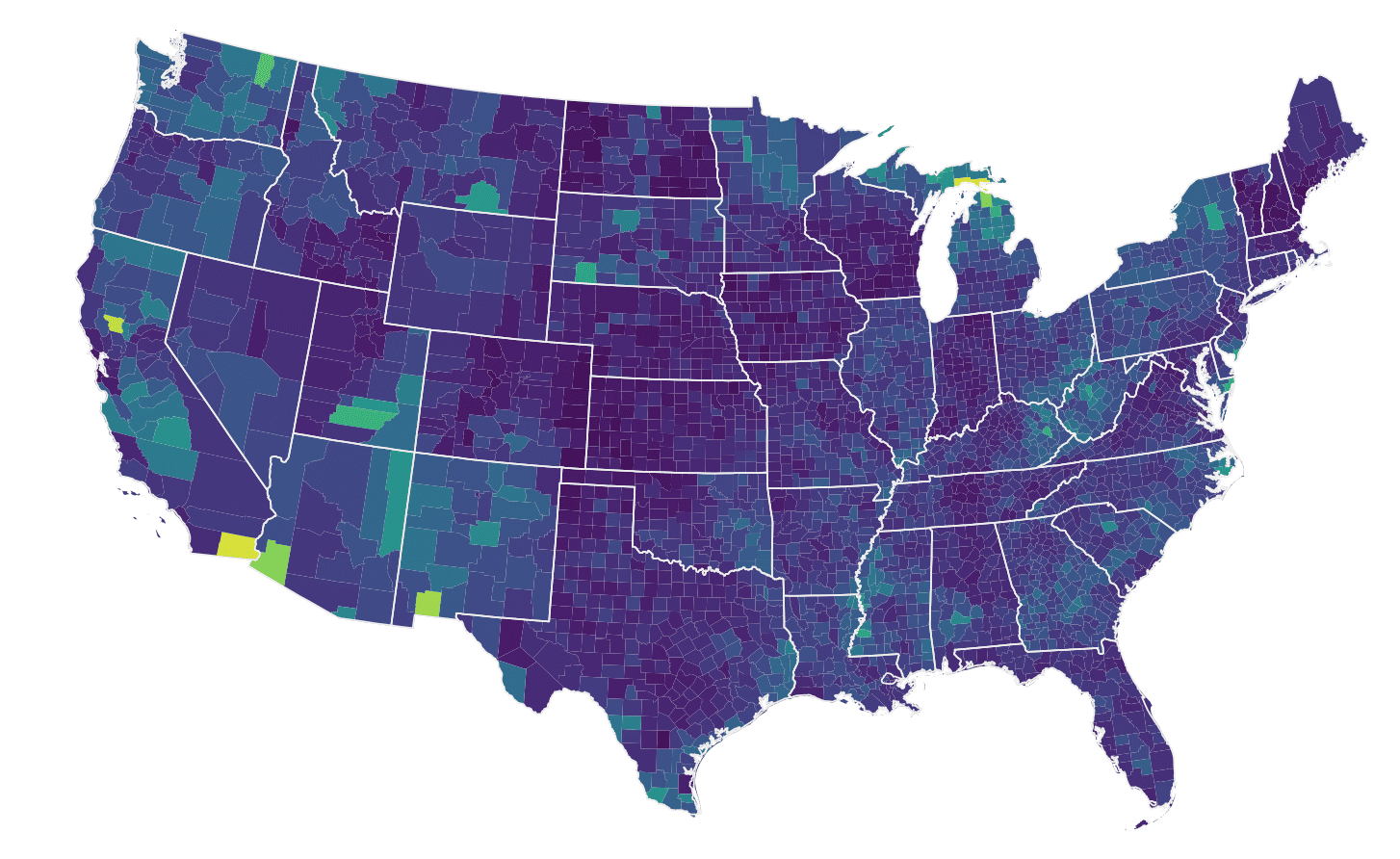 A detailed map of the USA that shows how ggplot2 can create complex data visualizations.