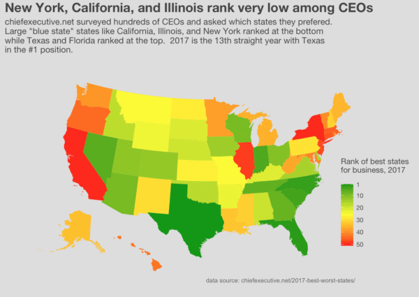 Map of the best states for business