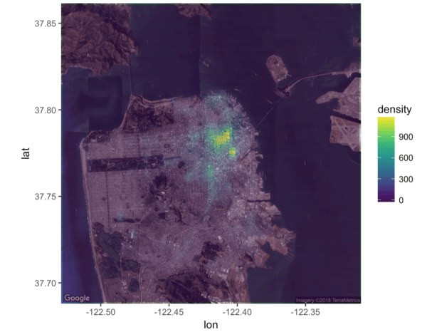 A crime heatmap in R, made with ggplot2 and the viridis color palette