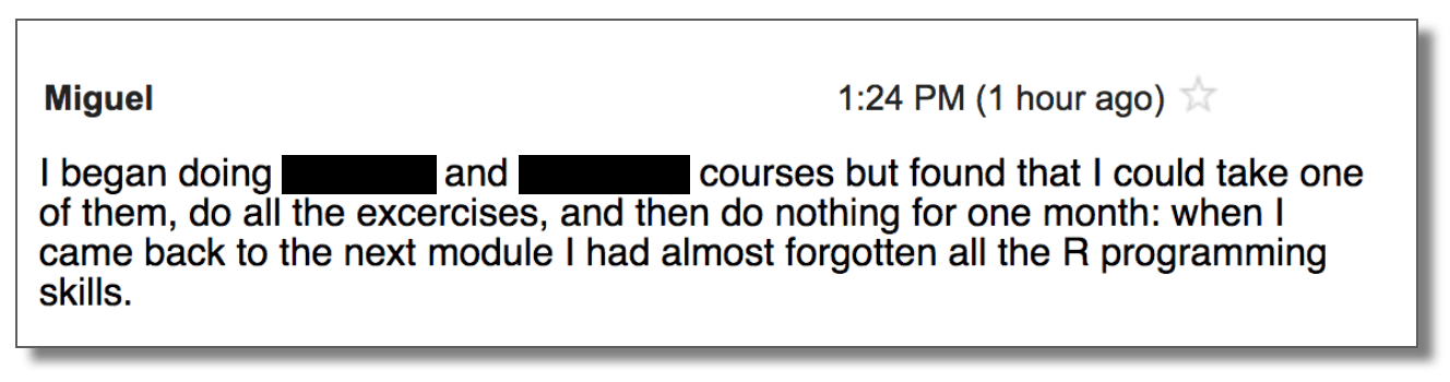 Email exerpt from student who keeps forgetting data science.