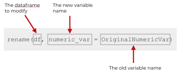 An explanation of how to use the rename function to rename columns in R.