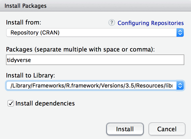 An image that shows how to install the tidyverse package in RStudio.