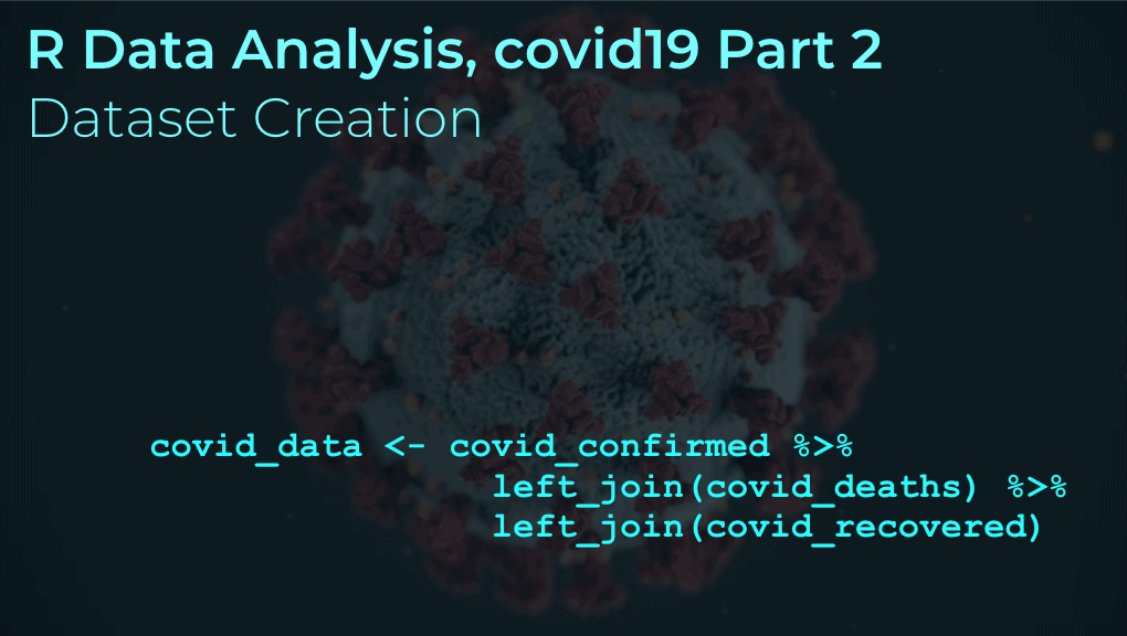 An image showing R data manipulation data, joining together covid19 datasets, with a sars-cov-2 virus in the background.