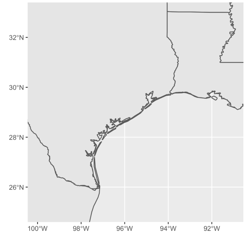 An image of a simple map of the Texas/Louisiana coast made in R with ggplot2.