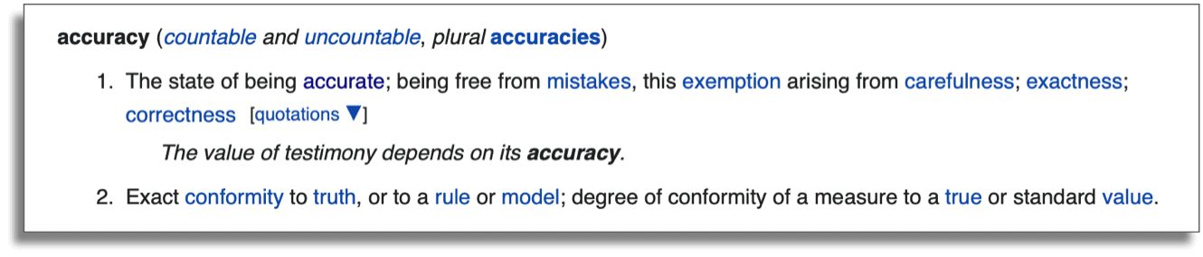 An image of the definition of the word accuracy