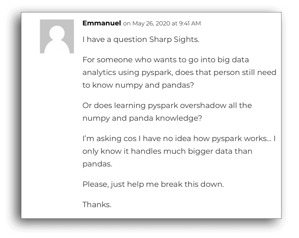 "An image of a comment/question by a reader named ""Emmanuel""."