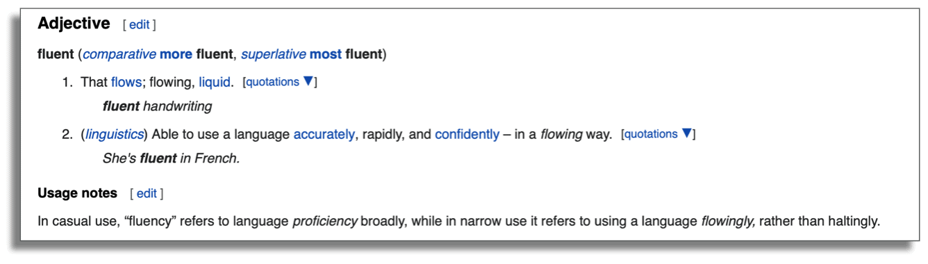 "An image showing the definition of ""fluent,"" from wiktionary.org."