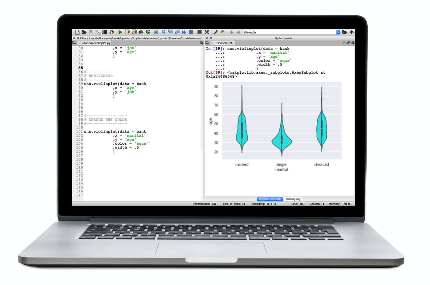 A laptop showing Seaborn creating a violin chart.