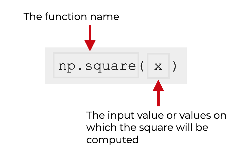 An image that explains the syntax of np.square.