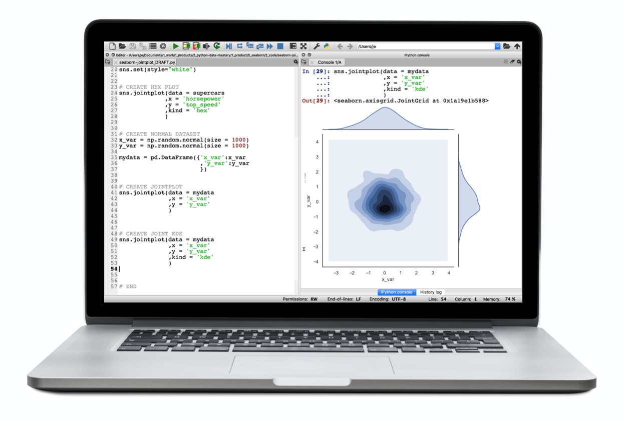 """A laptop showing code that creates a 2-dimensional """"jointplot"""" with Seaborn."""
