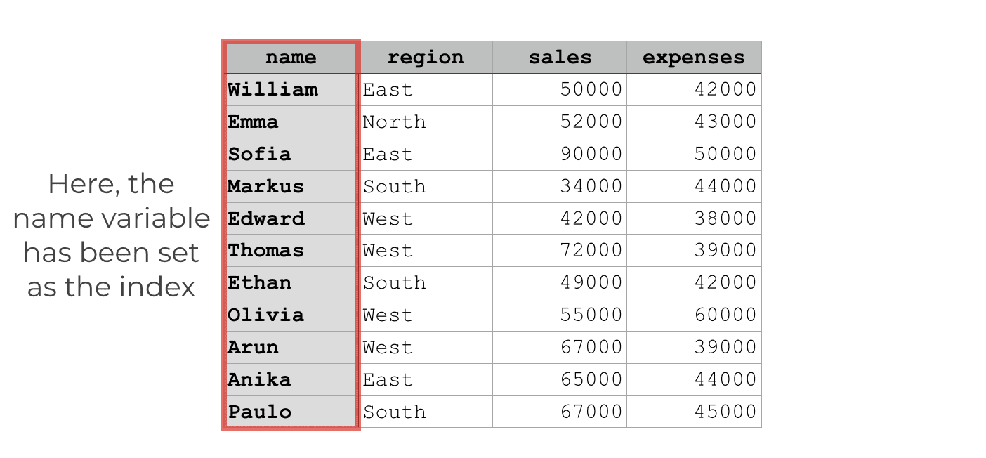 """An image that shows how the """"name"""" variable has been set as the DataFrame index."""